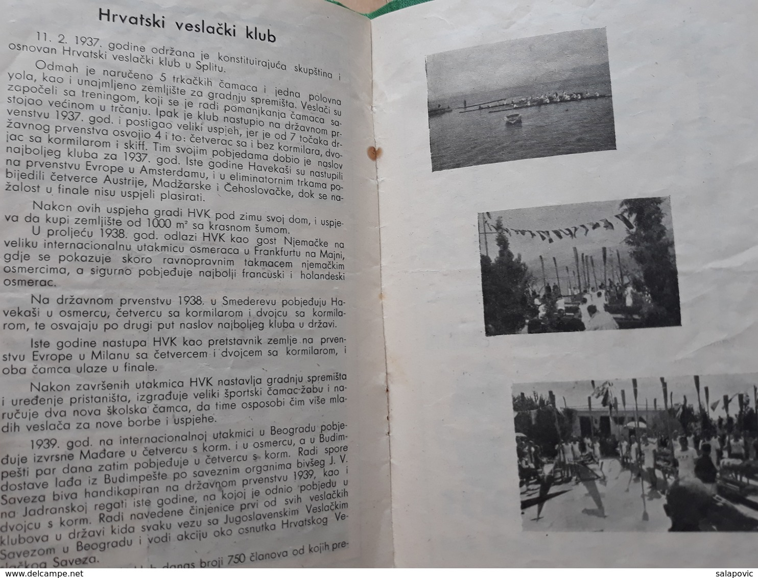 PROGRAM VESLACKIH UTAKMICA ZA PRVENSTVO JADRANA 1940 SPLIT, JADRANSKA REGATA   Rrrare - Remo