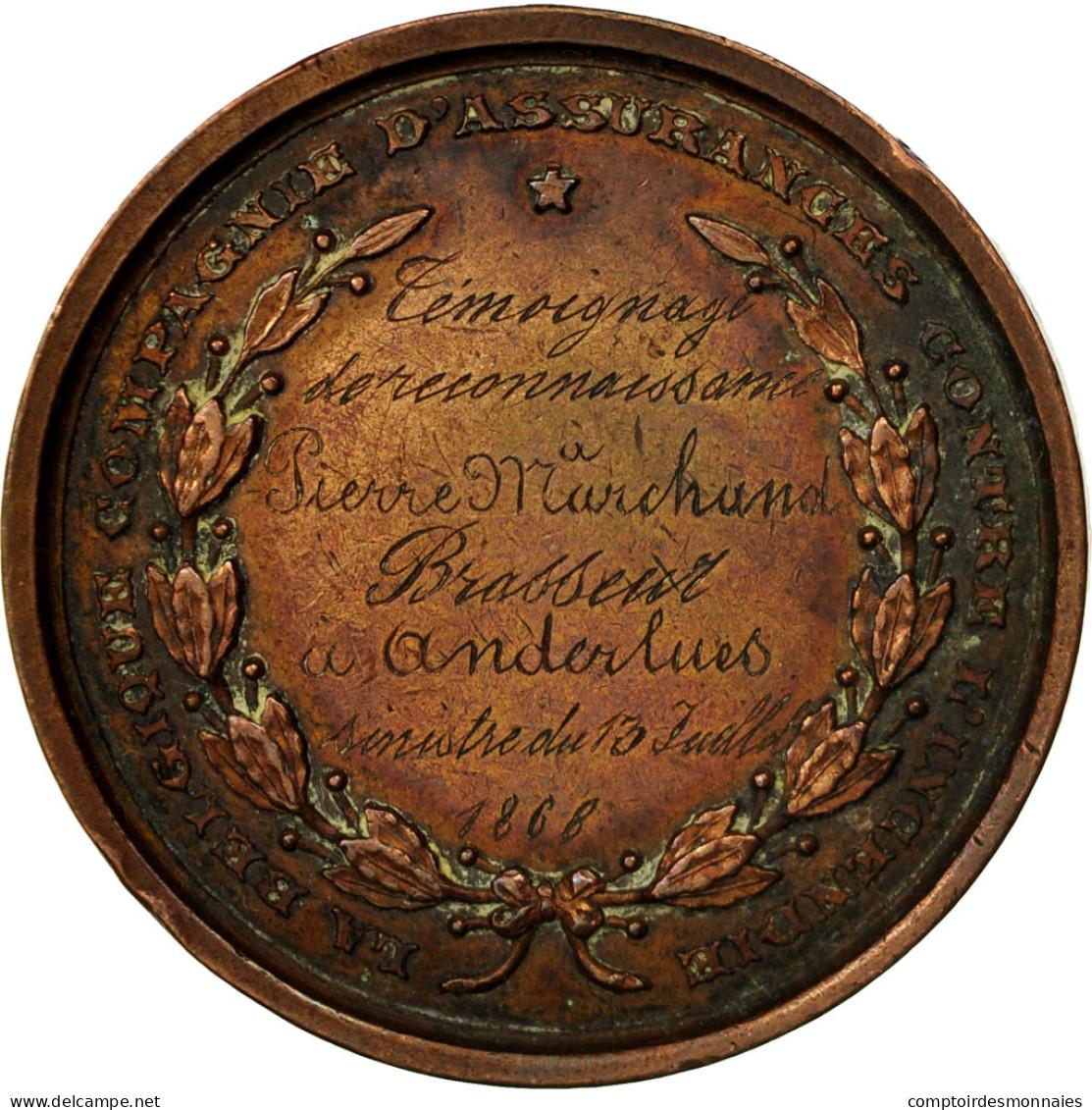 Belgique, Médaille, Leopold II, Compagnie D'Assurances Contre L'Incendie, 1868 - Belgium