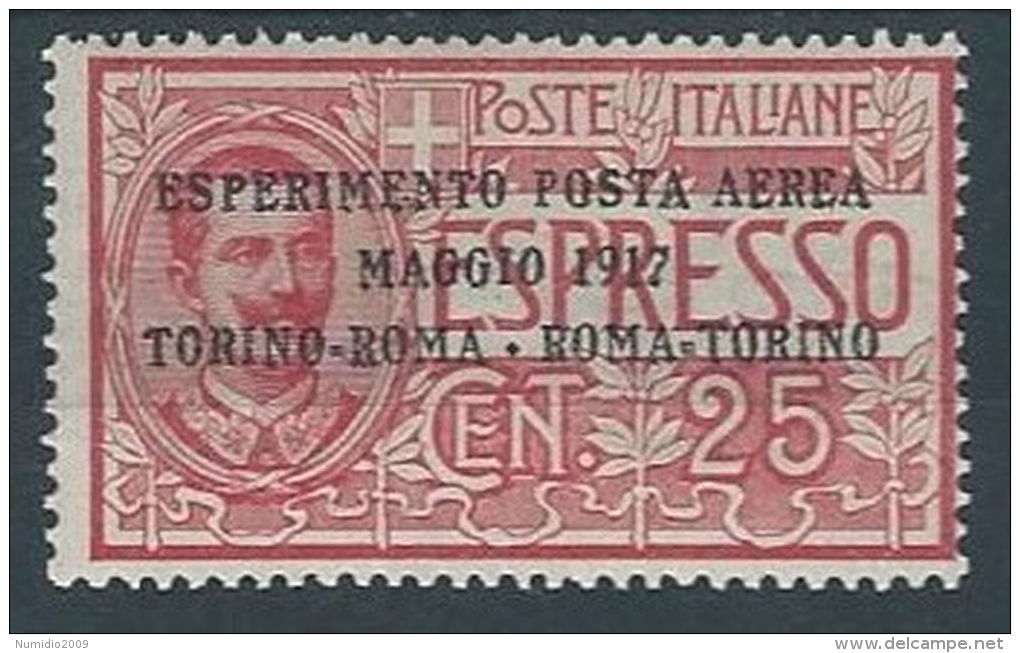 1917 REGNO POSTA AEREA ROMA TORINO MH * - RR12890-3 - 1900-44 Vittorio Emanuele III