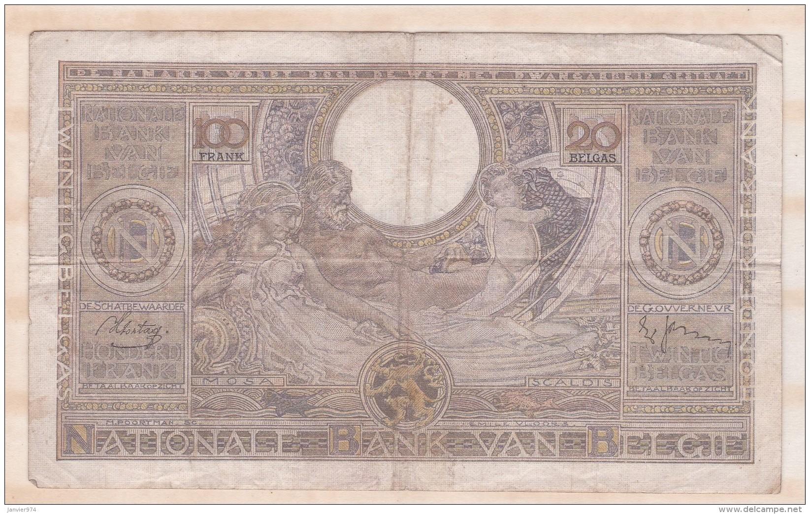 Belgique 100 FRANCS / 20 BELGAS  15. 06 1938. - 100 Franchi & 100 Franchi-20 Belgas