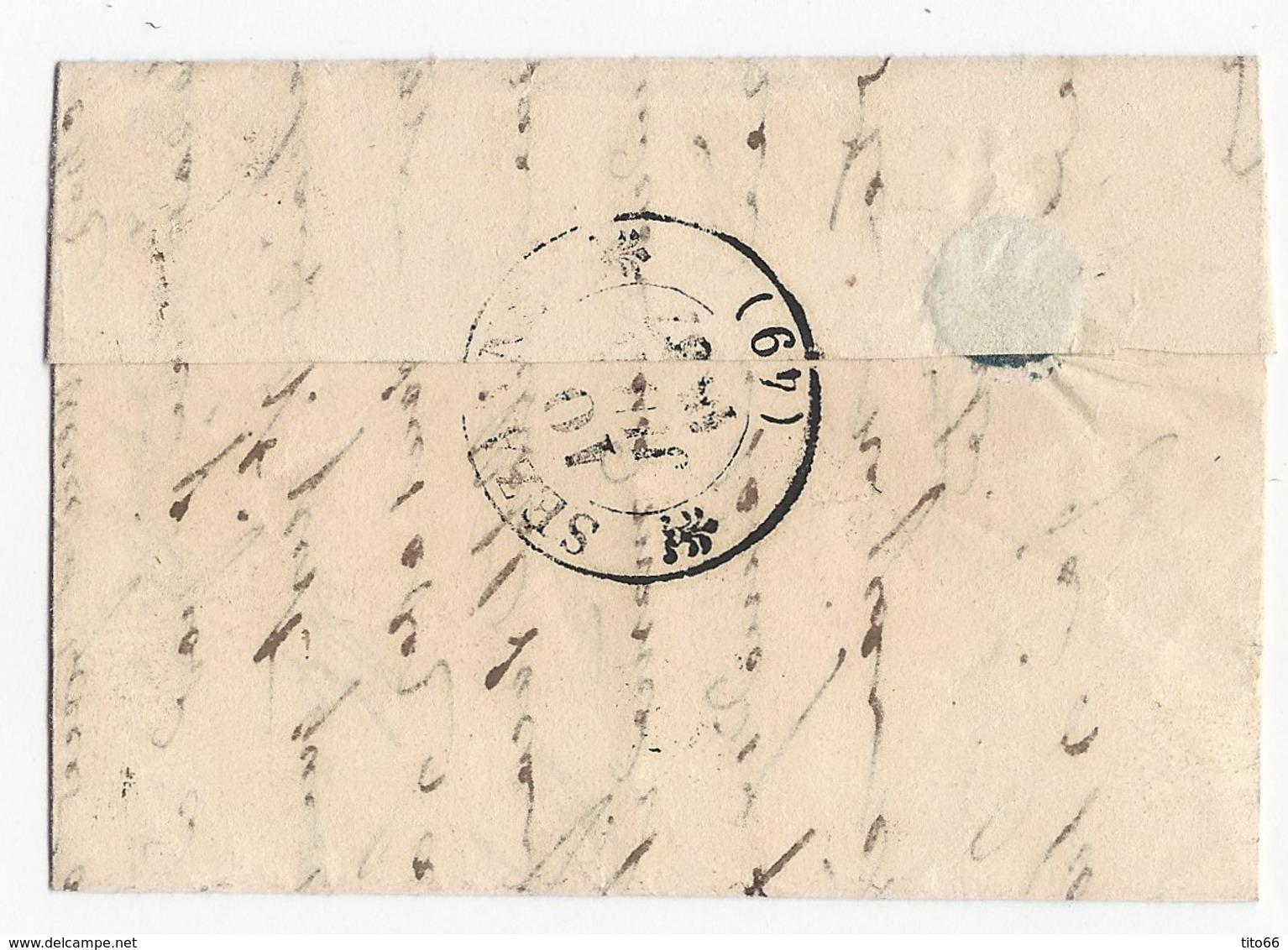 LAC Sézanne TAD Type 12 Du 10 Juin 1837 Pour Sézanne  Taxe 1 - 1801-1848: Précurseurs XIX
