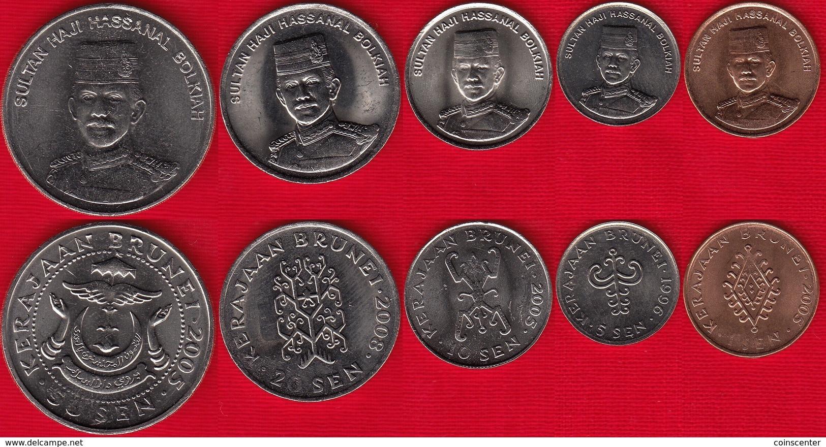 Brunei Set Of 5 Coins: 1 - 50 Sen 1996-2008 UNC - Brunei
