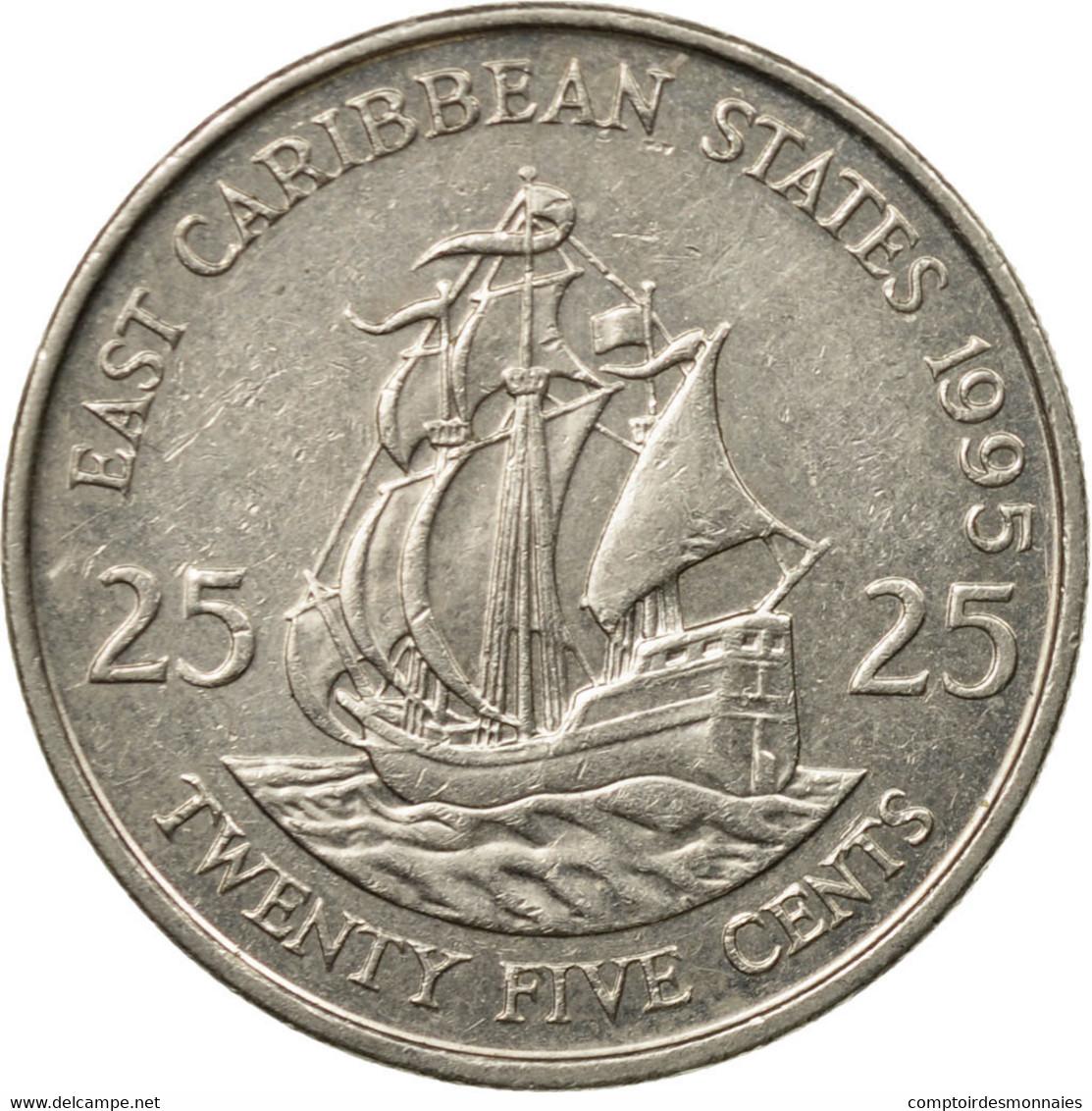 Monnaie, Etats Des Caraibes Orientales, Elizabeth II, 25 Cents, 1995, TTB - Caraïbes Orientales (Etats Des)