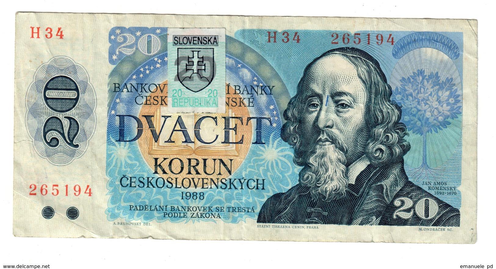 Slovakia 20 Korun 1993 Provisional Issue .J. - Slovaquie