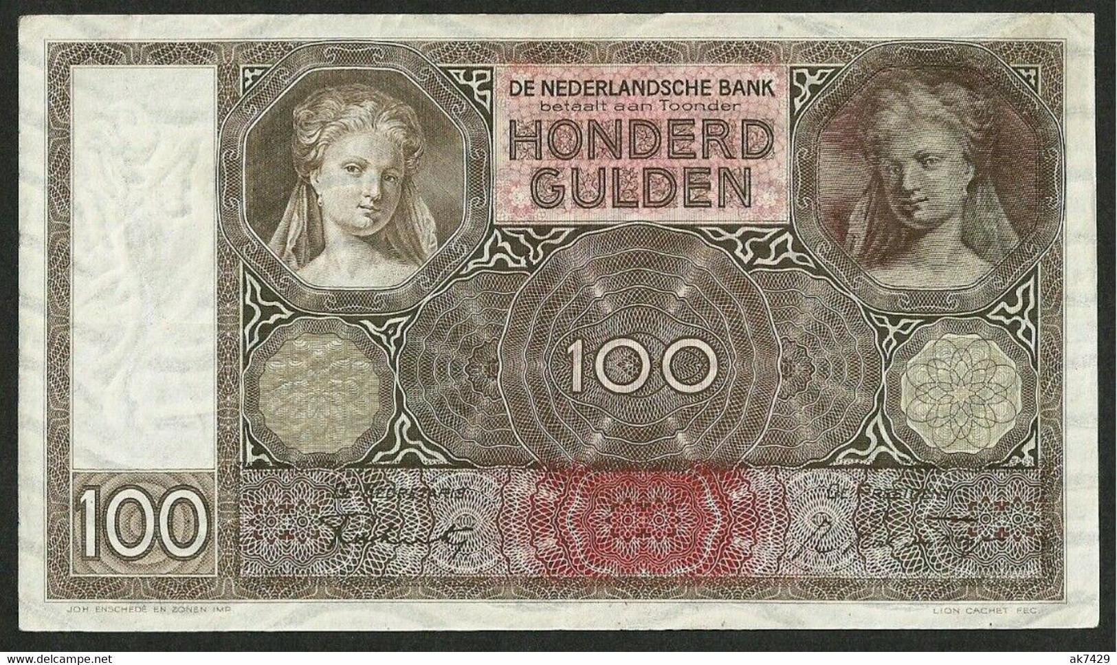NETHERLANDS / NIEDERLANDE 100 GULDEN 1942 (1930-1944 Issue) P#51c VF - 100 Florín Holandés (gulden)
