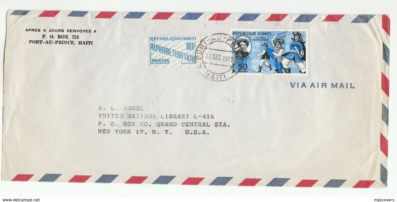 1961 HAITI COVER DUMAS MUSKETEERS Stamps To UNITED NATIONS USA Airmail Un Literature - Haiti