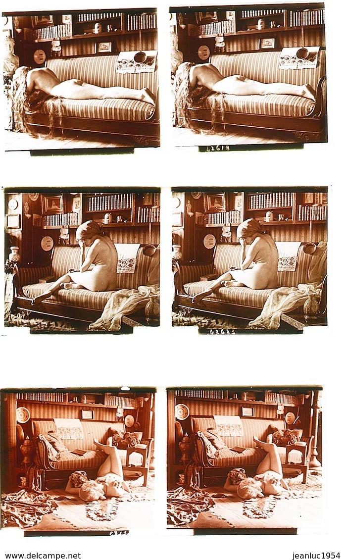 ENORME LOT DE NUS PLAQUES PHOTOS ORIGINALES / DIAPOS / PRIX CASSE - Desnudos Adultos (< 1960)