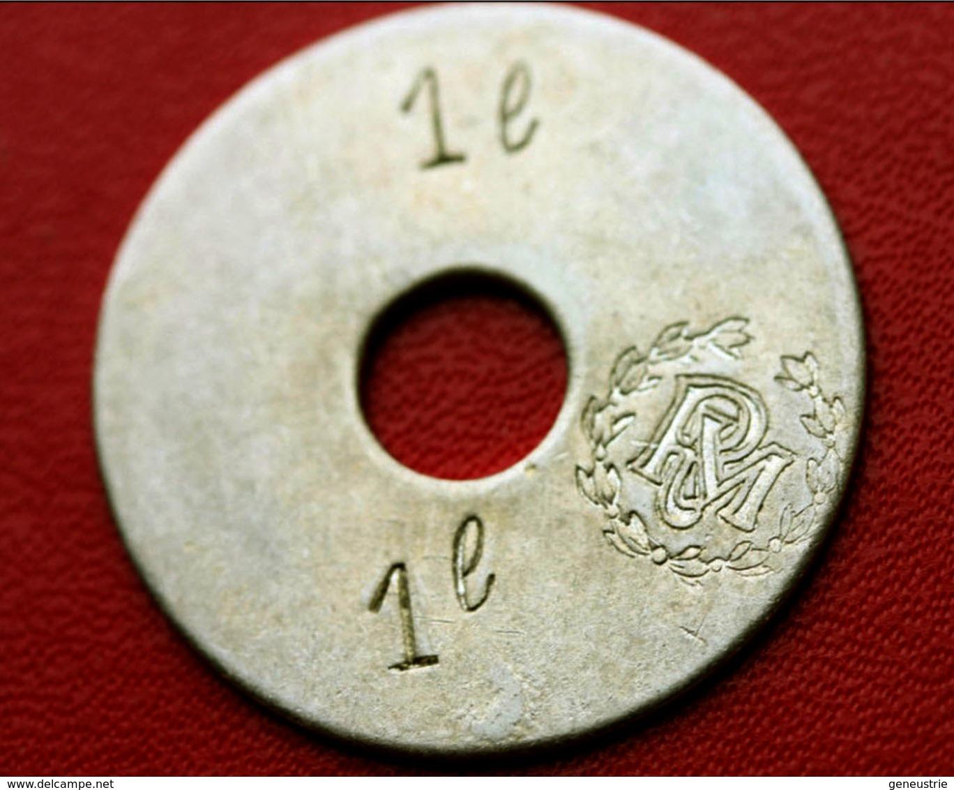 """Rare Token Jeton Uniface De Nécessité """" 1 L  RM """" (Royal Marines, Corps Expéditionnaire, ... ?) UK Army - Professionnels/De Société"""