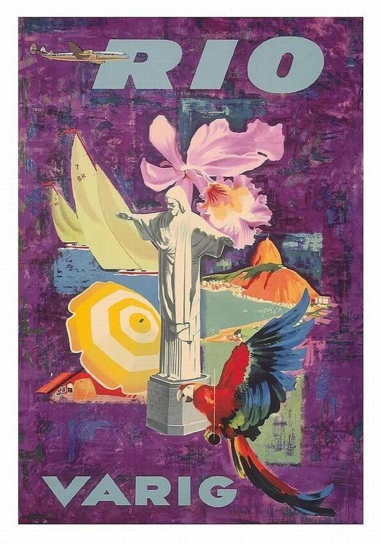 Brazil Aviation Postcard Rio Varig 1955 - Reproduction - Advertising