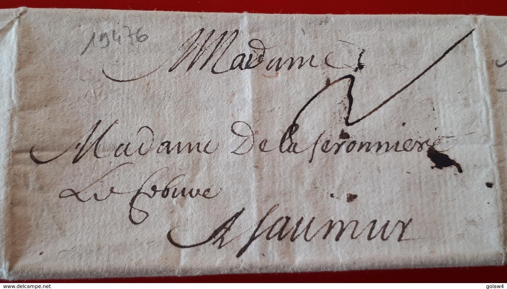 19476# MAINE ET LOIRE LETTRE TAXEE Datée De 1665 Pour SAUMUR - Marcophilie (Lettres)