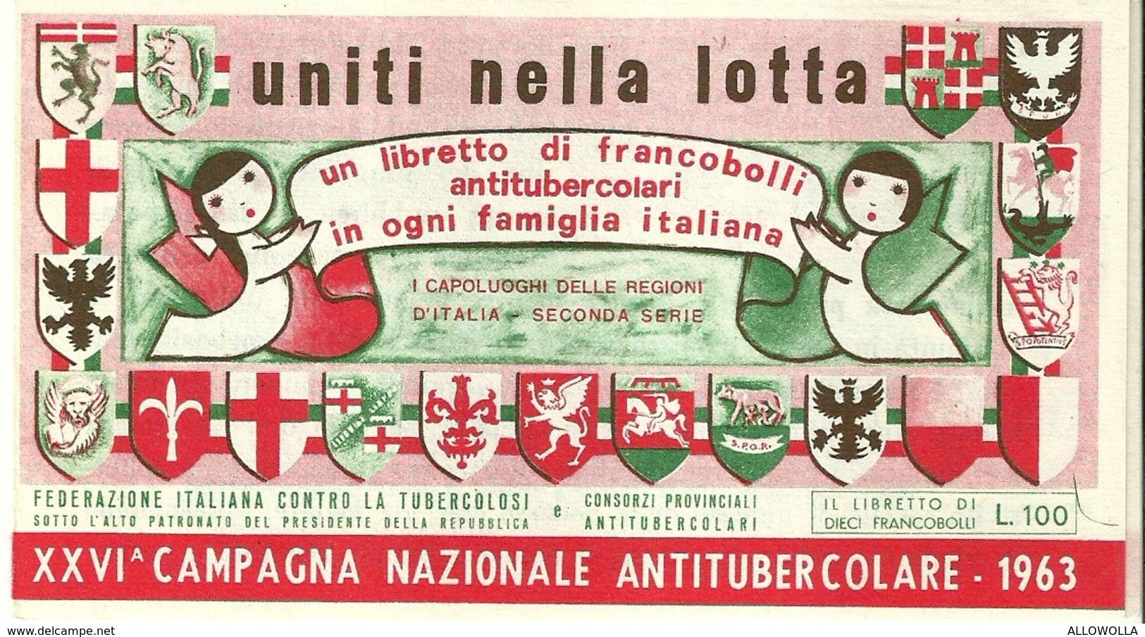 """1061 """" LIBRETTO FRANCOBOLLI ANTITUBERCOLARI-XXVI CAMPAGNA NAZIONALE DEL 1963 """" FOLDER ORIGINALE - Erinnofilia"""