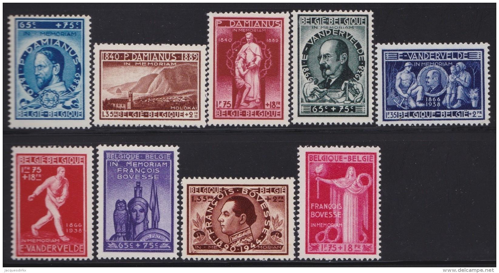 Belgie    .    OBP   .   728/736        .     **     .    Postfris ZONDER  Charnier    .  / .  Neuf SANS  Charniere - Belgien