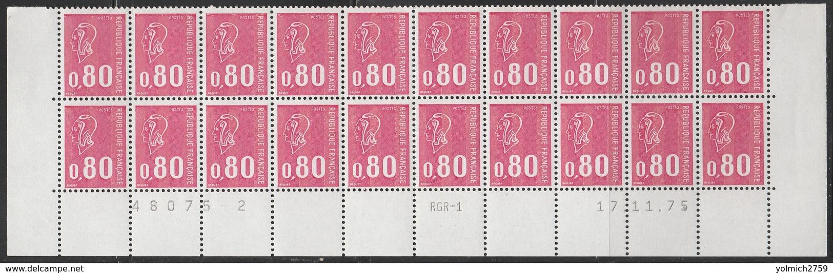 """1816 0.80f. BEQUET """"ROSE GROSEILLE"""" - BAS De FEUILLE De 20 RGR1 - COIN DATE 17.11.75 - 1971-76 Marianne (Béquet)"""