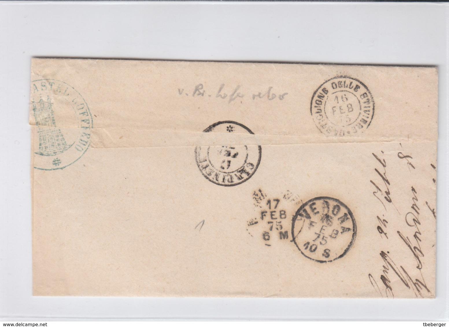 Italy Italia 1875 Official Letter MUNICIPIO DI CASTEL GOFFREDO Mantua To CARPINETI Reggio Emilia (q206) - 1861-78 Vittorio Emanuele II