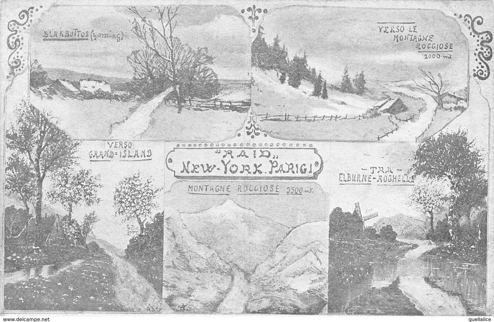 """0361 """"RAID NEW YORK - PARIGI 1908 - 5 LUOGHI"""" PUBBL. ORIG. - Cartes Postales"""