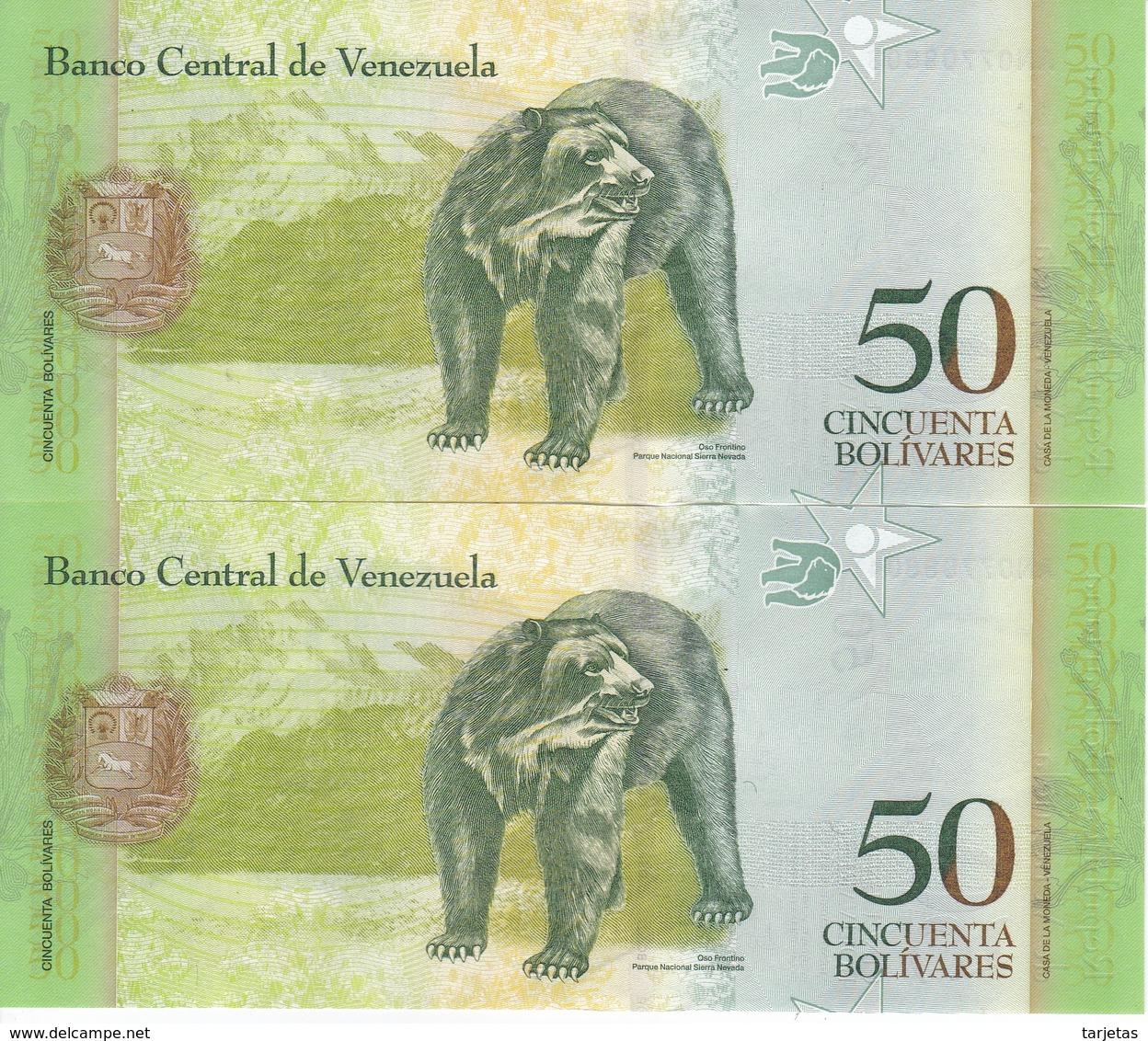PAREJA CORRELATIVA DE VENEZUELA DE 50 BOLIVARES DEL 5 DE NOVIEMBRE 2015 SIN CIRCULAR -UNC (BANKNOTE) OSO FRONTINO (BEAR) - Venezuela