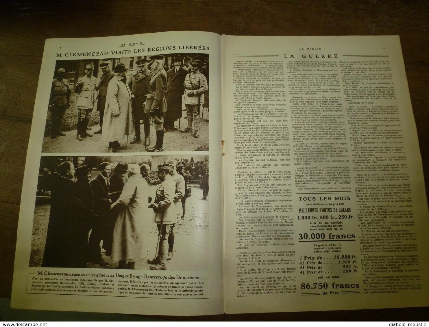 1918 LE MIROIR:Roi Albert,reine Et Prince Héritier à Bruges;La 46e British Division à Alep;St-Quentin;USArmy;Sérès; Etc - Revues & Journaux