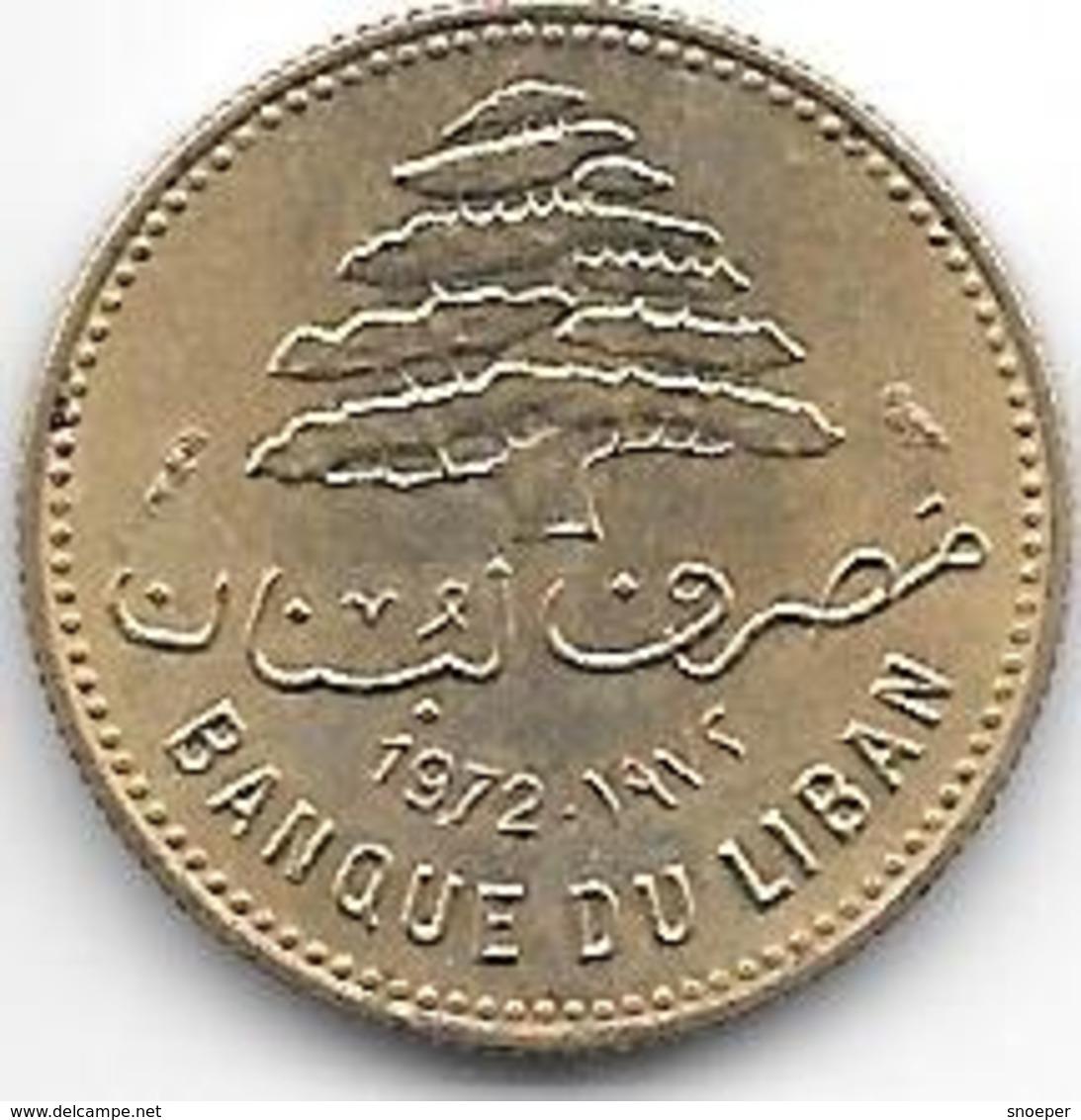 *lebanon 5 Piastres 1972 Km 25.2  Unc - Liban