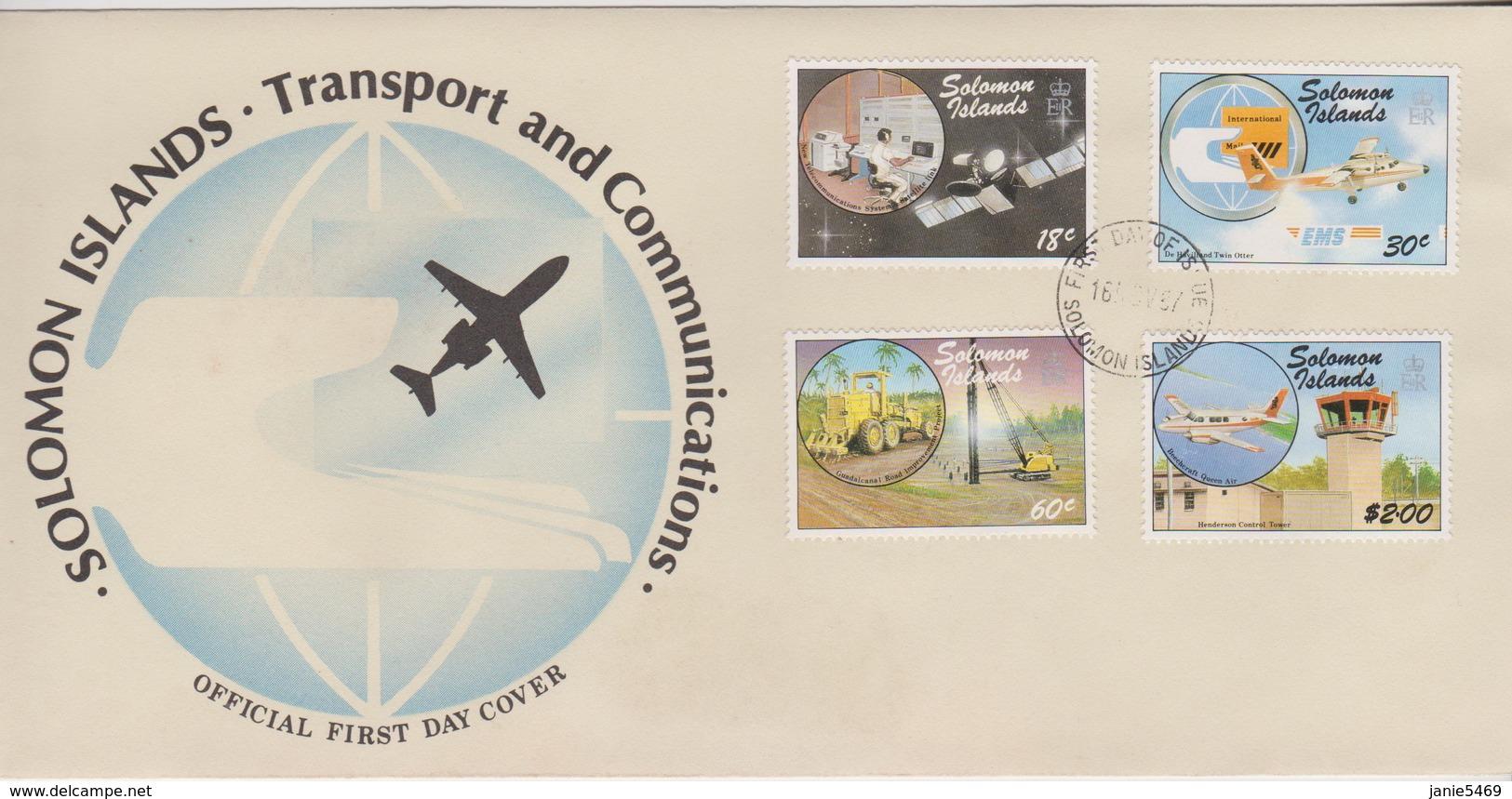 Solomon Islands 1987 Transport And Communications,FDC - Solomon Islands (1978-...)
