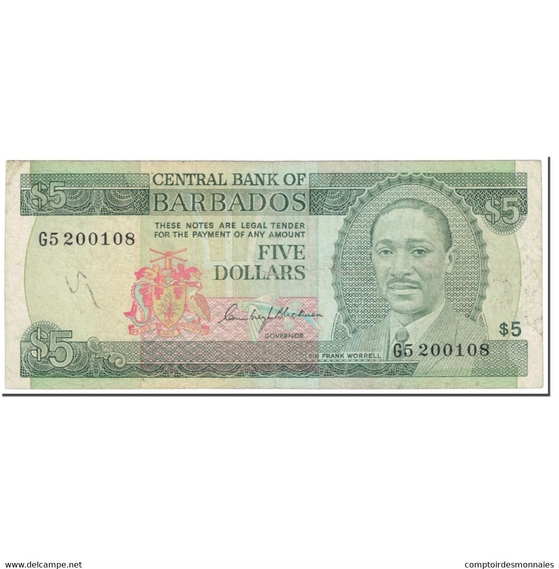 Billet, Barbados, 5 Dollars, 1975, Undated (1975), KM:32a, TTB - Barbados