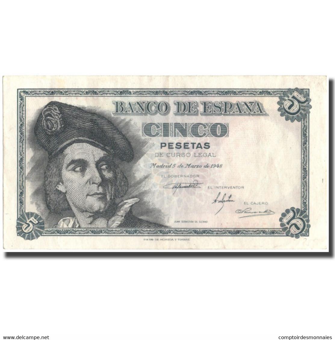 Billet, Espagne, 5 Pesetas, 1948, 1948-03-05, KM:136a, TTB+ - [ 3] 1936-1975 : Régence De Franco
