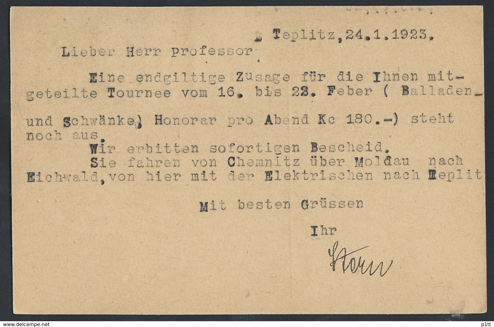 2ch.Postcard. The Mail Went To 1923 Teplice Berlin. Professor Of Art History - Tchécoslovaquie