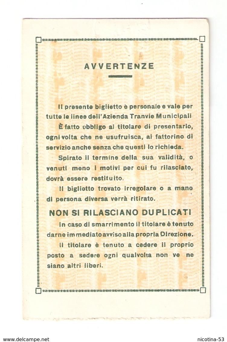BIGLI--0007-- TRANVIE MUNICIPALI TORINO - TESSERA GRATUITA DI SERVIZIO - ANNO 1943/1944 - Europa