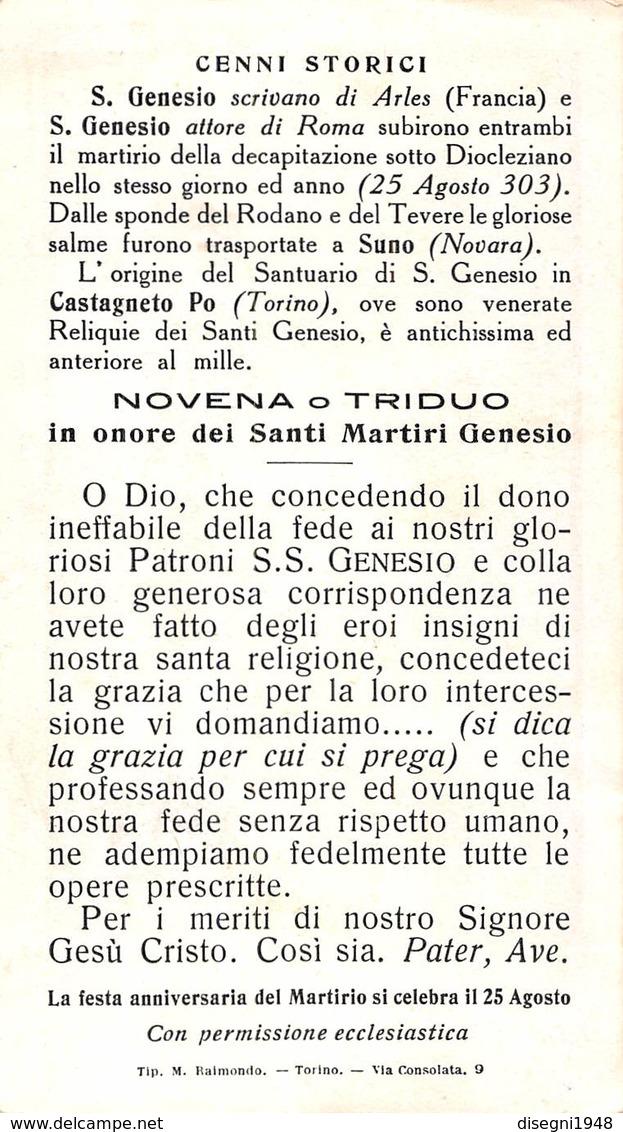"""07463 """"RICORDO SOL. TRASL. S.S. RELIQUIE SANTI GENESIO D'ARLES E GENESIO DI ROMA MARTIRI 1933 CASTAGNETO PO """" ORIG. - Santini"""