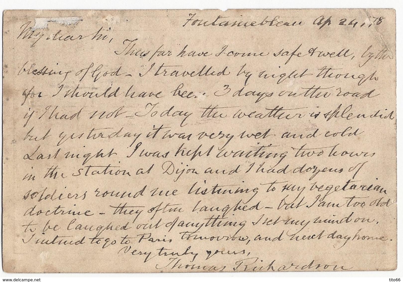 CPP Sage 77 De Fontainebleau Vers Lausanne Suisse Du 24 Avril 1876 Texte En Anglais - Entiers Postaux