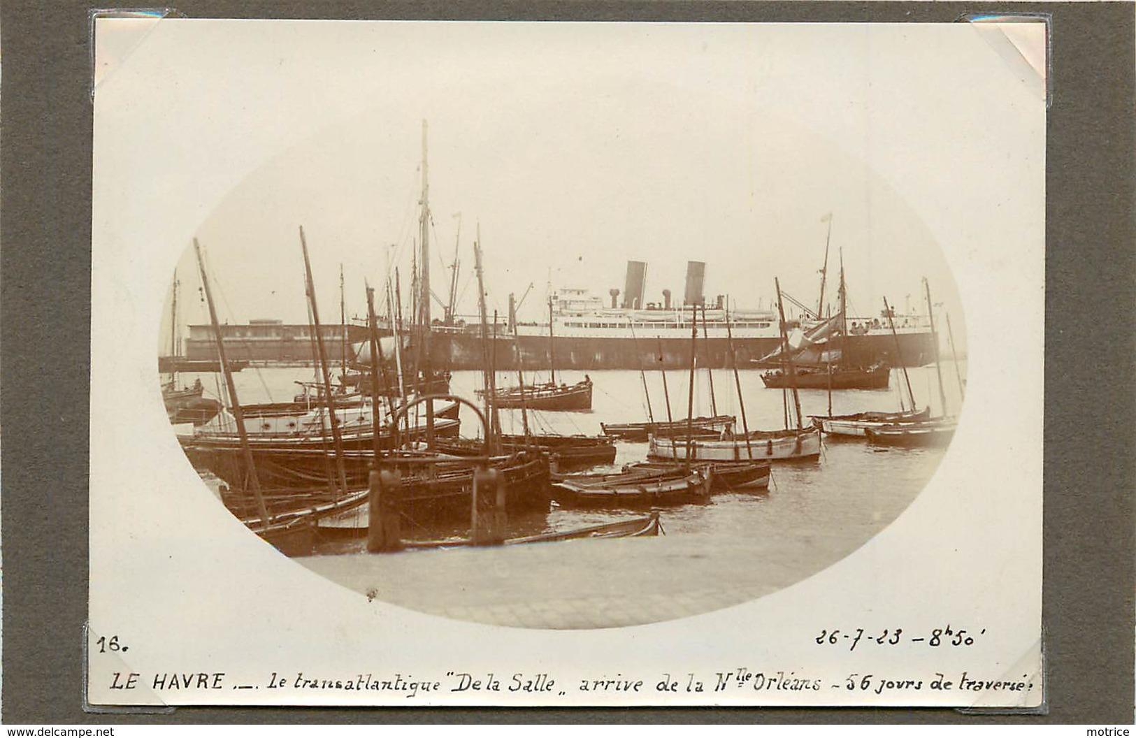 """LE HAVRE (seine  Maritime) - Le Transatlantique """"de La Salle""""  ,dans Les Années 20 ( Photo Format 11,7cm X 8,4 Cm). - Boats"""