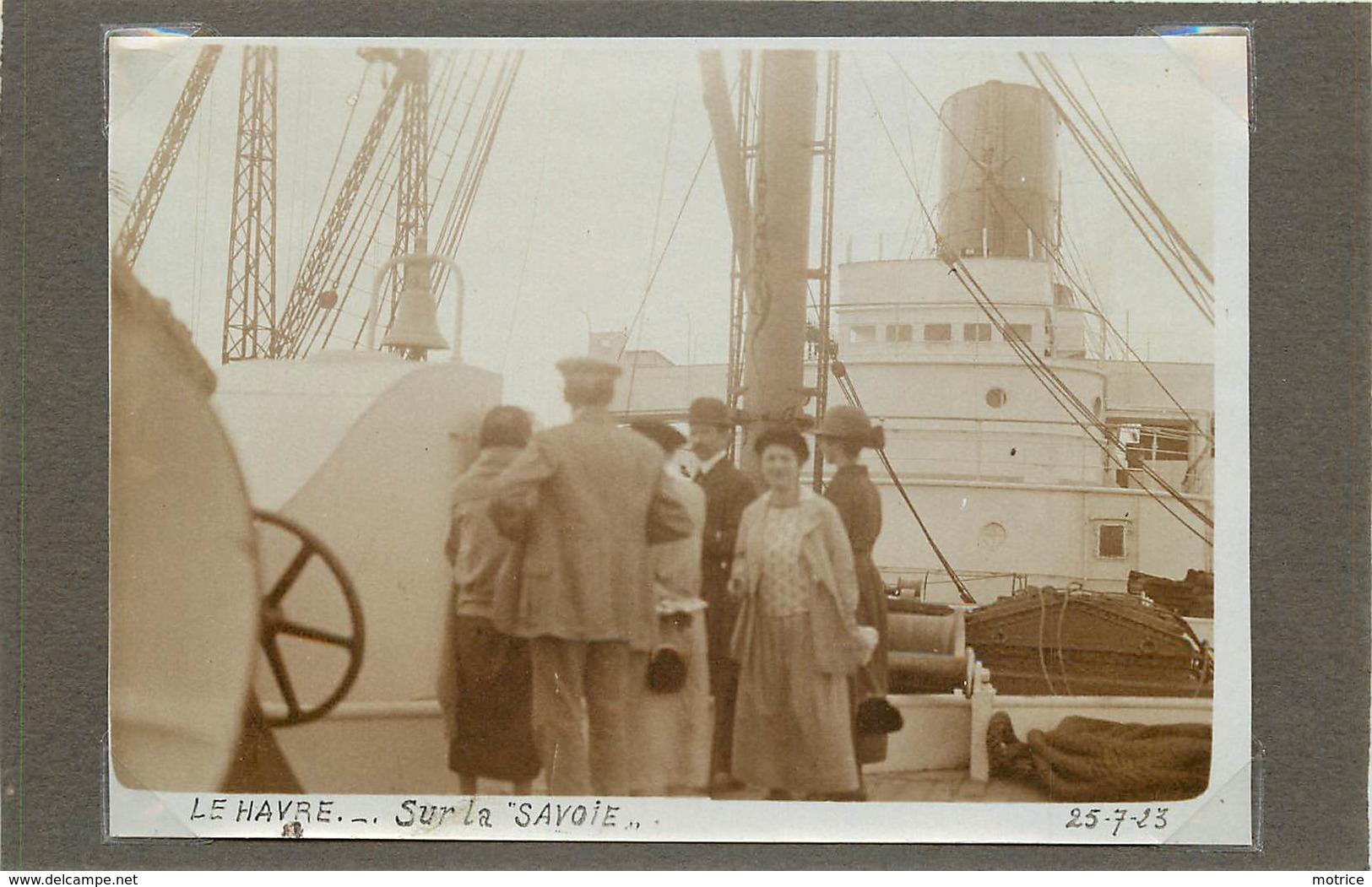 """LE HAVRE (seine Maritime) - Sur Le Paquebot """" La Savoie"""" ,dans Les Années 20 ( Photo Format 11,6cm X 8,3 Cm). - Boats"""