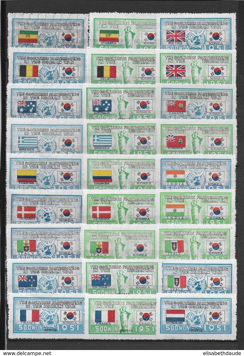 COREE SUD - 1951 - TRES RARE SERIE ONU YT N° 83/124 + 107a Et 108a  (*) - COTE = 1200 EUR - 44 VALEURS  / 2 SCANS - Corée Du Sud