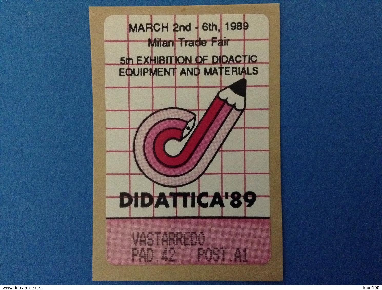 1989 ITALIA VIGNETTA ETICHETTA ERINNOFILO CINDERELLA - 1989 MILANO DIDATTICA CANCELLERIA VASTARREDO - Cinderellas