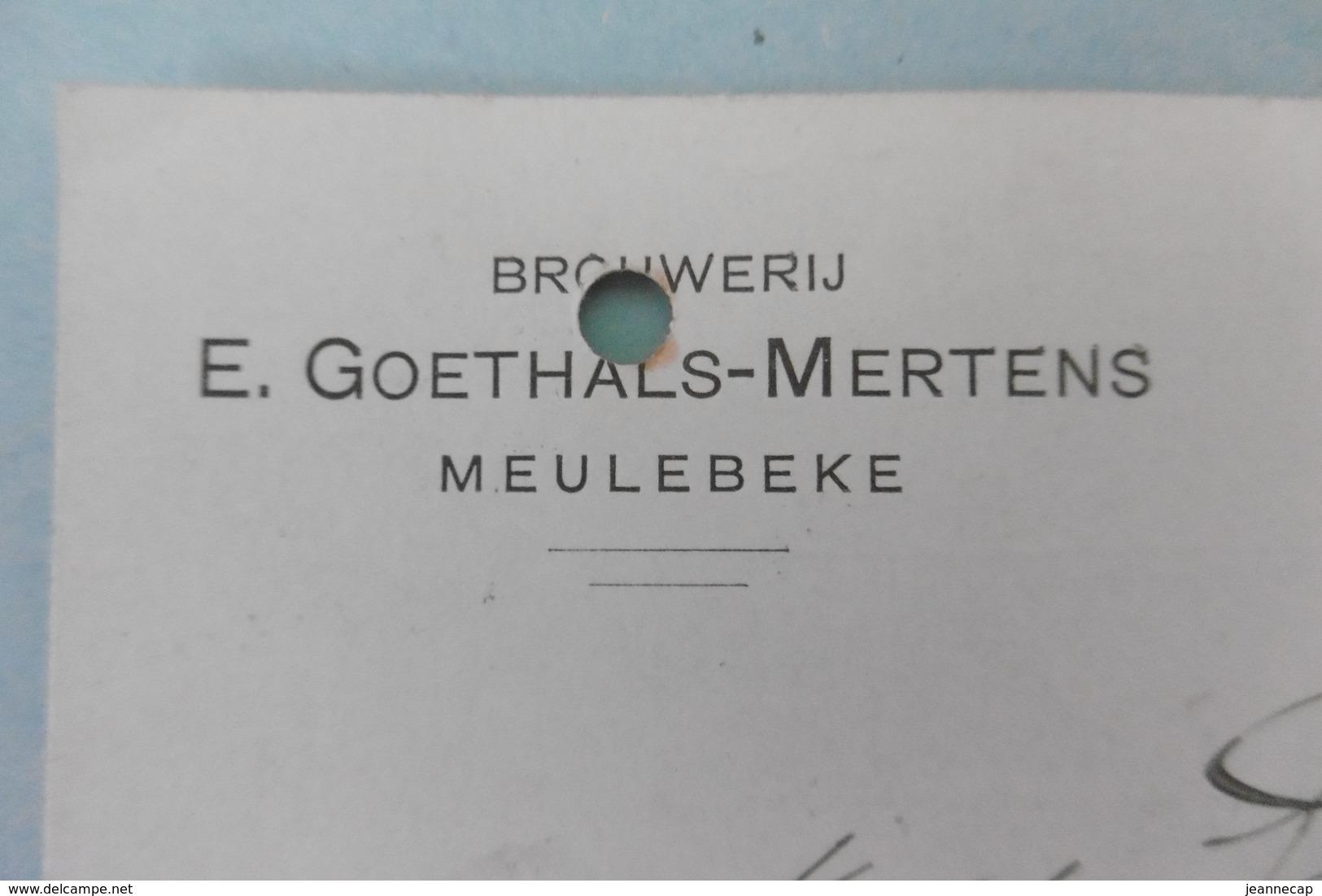 PW-EP 5 C Pellens, Brasserie-brouweri MEULEBEKE, Brouwer Brasseur Goethals-Mertens, 16-10-1912, Signé - Entiers Postaux