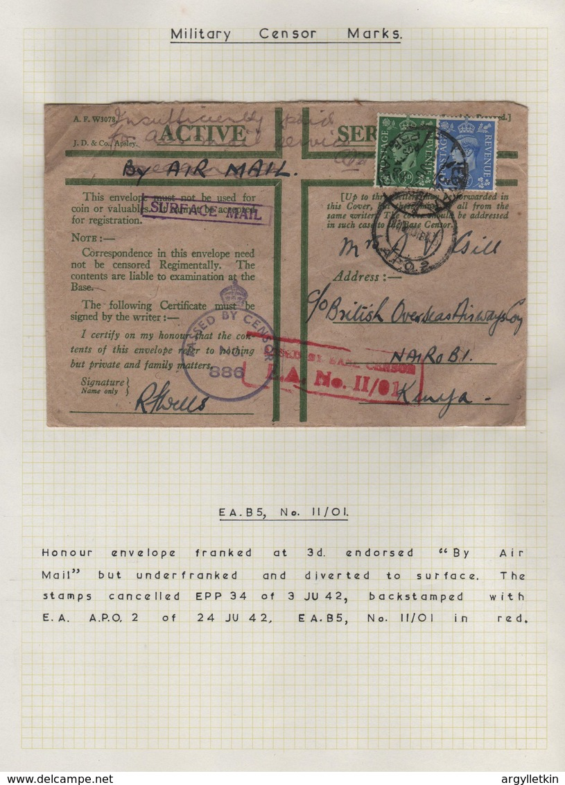 GB USED ABROAD WORLD WAR 2 EGYPT KENYA CENSOR 1942 - 1902-1951 (Kings)