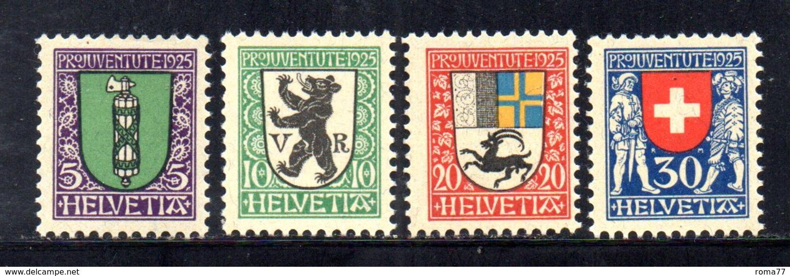 266/1500 - SVIZZERA 1925 , Pro Juventute Unificato N. 218/221  ***  MNH - Nuovi