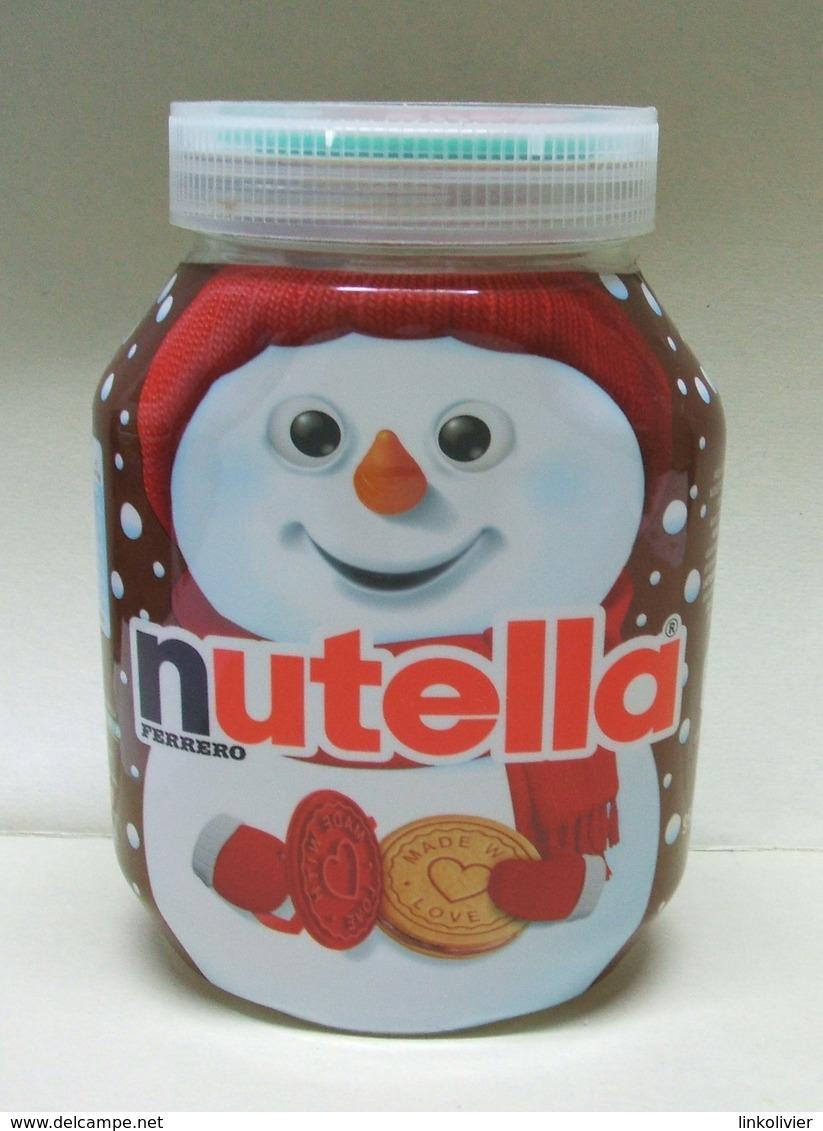 Pot De NUTELLA Vide Avec TAMPON à BISCUITS - Bonhomme De Neige Hiver Noël - Nutella