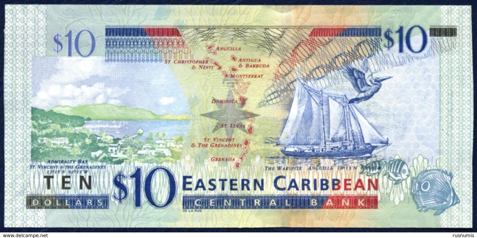 "EASTERN CARIBBEAN 10 DOLLARS P-52b Queen Elizabeth II Admiralty Bay (St. Vincent), Ship ""Warspite"" (Anguilla) 2012 UNC - Caraïbes Orientales"