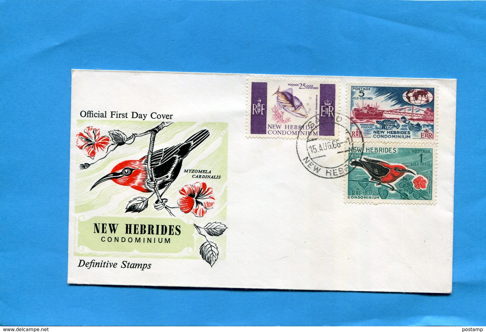 Nlle Hebrides-enveloppe Illustrée FDC-3+stamp  Panda N°239-41 Poisson-oiseu-port Villa Cad 1966 - FDC