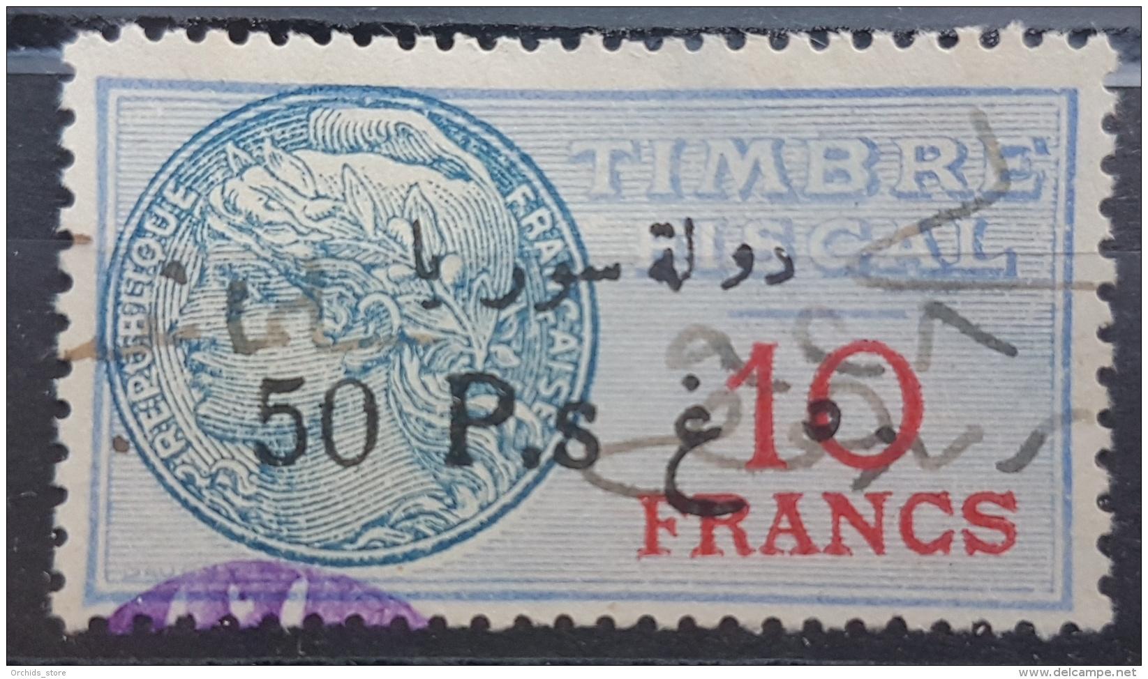 BB2 #24 - Syria 1929 Fiscal Revenue Stamp 50p On 10f (Black Ovpt) - Syrië