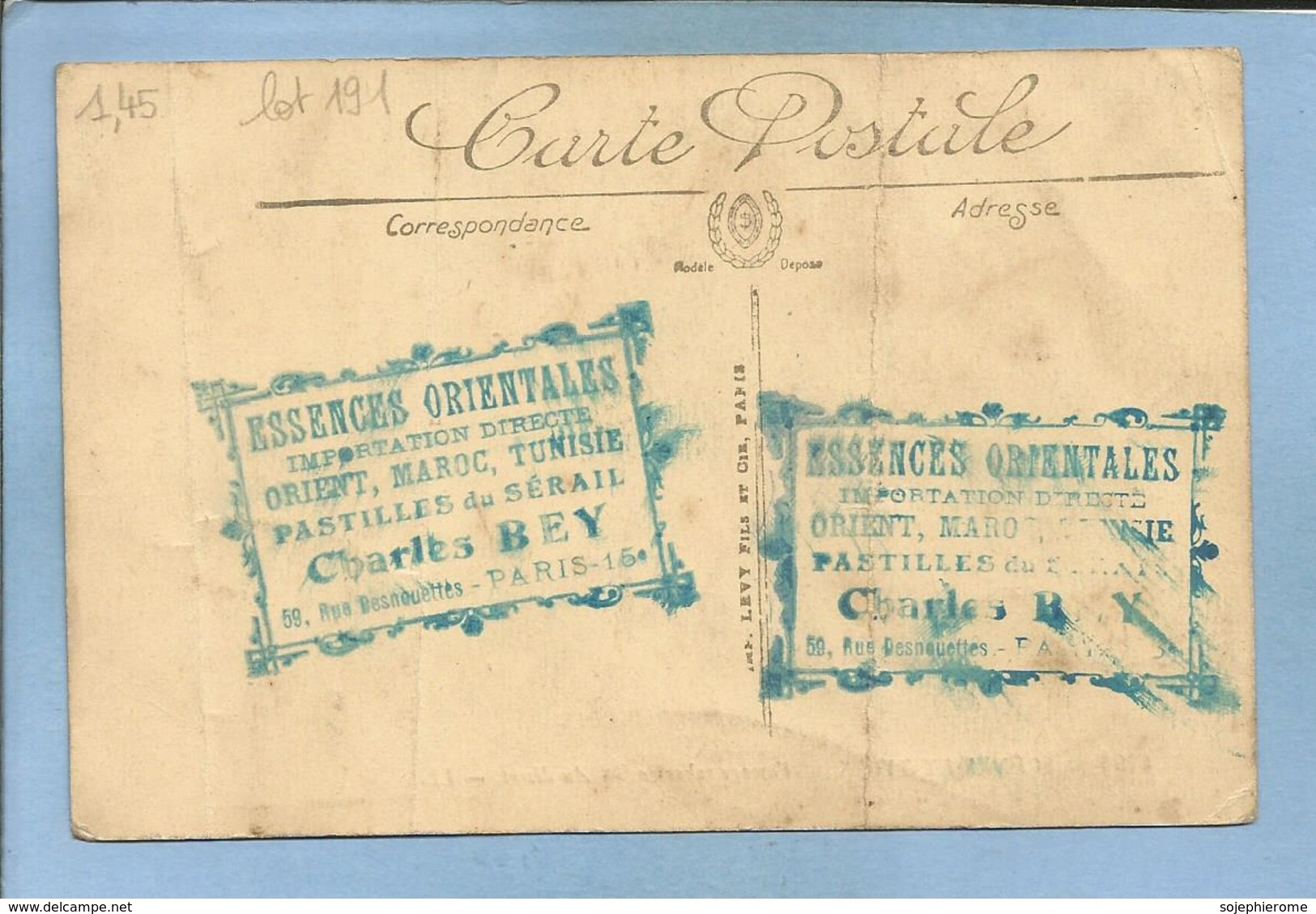 Paris 15e 59 Rue Desnouettes Charles Bey 2 Cachets Bleus 6195 Scènes Et Types Paysage Saharien Au Désert Dromadaires - Distretto: 15
