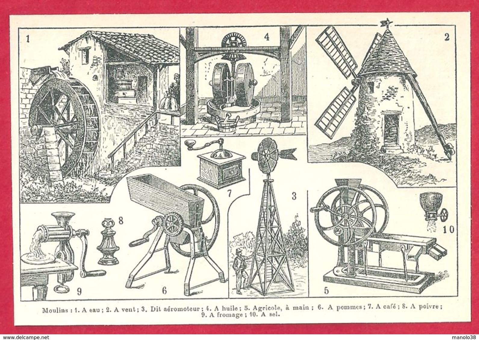 Moulins, Moulin à Eau, à Vent, Dit Aéromoteur, à Huile, Agricole à Main, à Pomme..., Larousse 1908 - Vieux Papiers