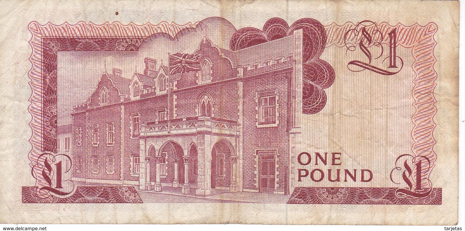 BILLETE DE GIBRALTAR DE 1 POUND DEL AÑO 1976  (BANKNOTE-BANK NOTE) - Gibraltar