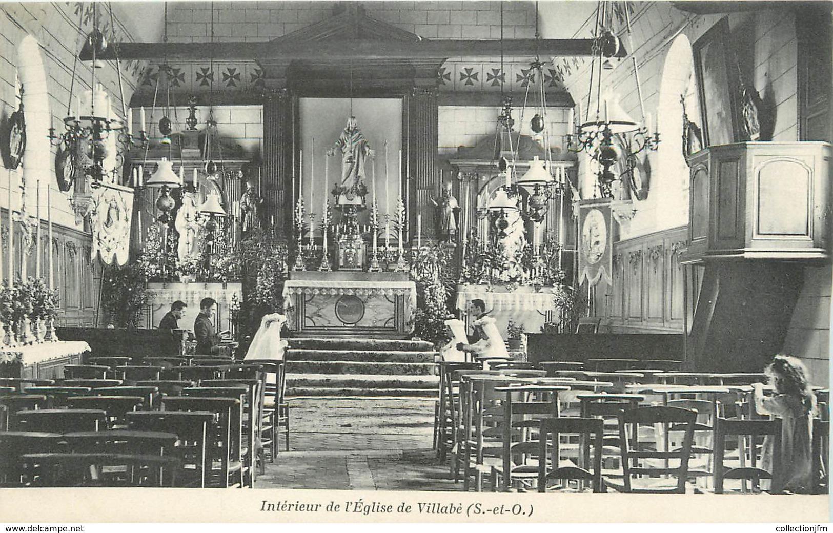 """/ CPA FRANCE 91 """"Intérieur De L'église De Villabé"""" - France"""