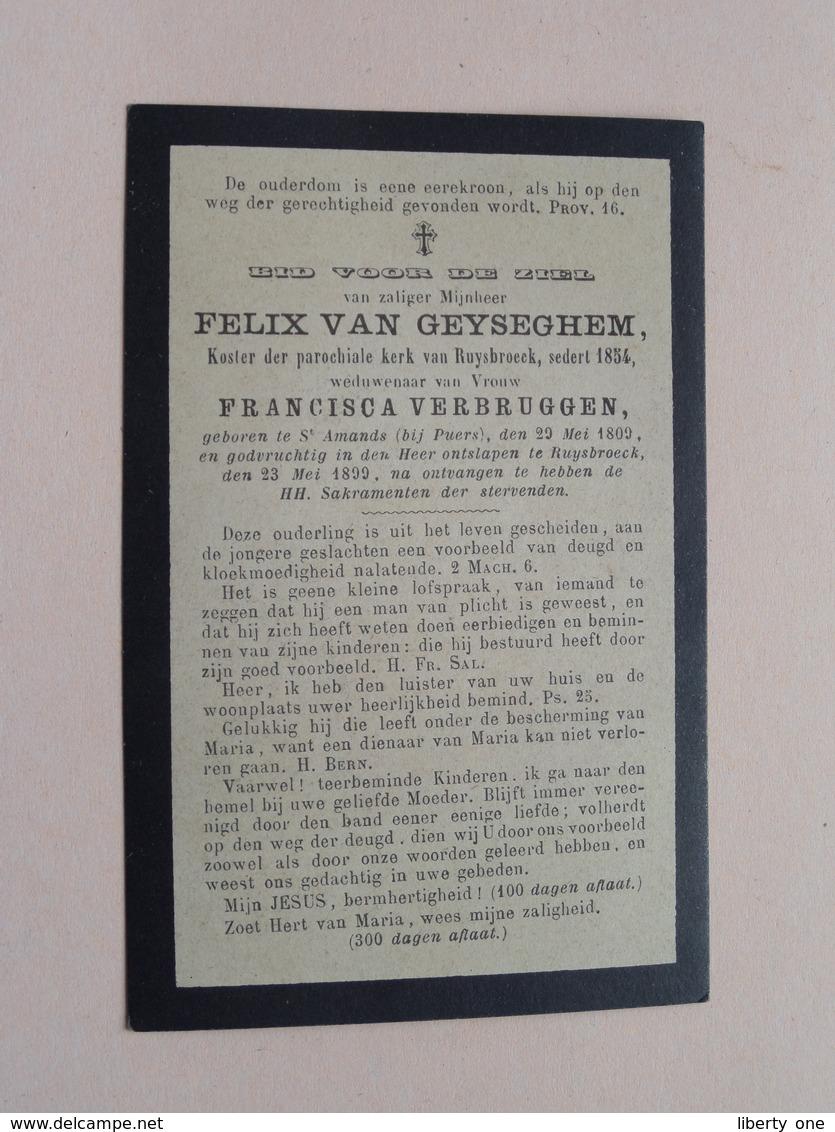 DP Felix VAN GEYSEGHEM (VERBRUGGEN) Sr. Amands (Puers) 29 Mei 1809 - Ruysbroeck 23 Mei 1899 ( Zie Foto's ) ! - Avvisi Di Necrologio