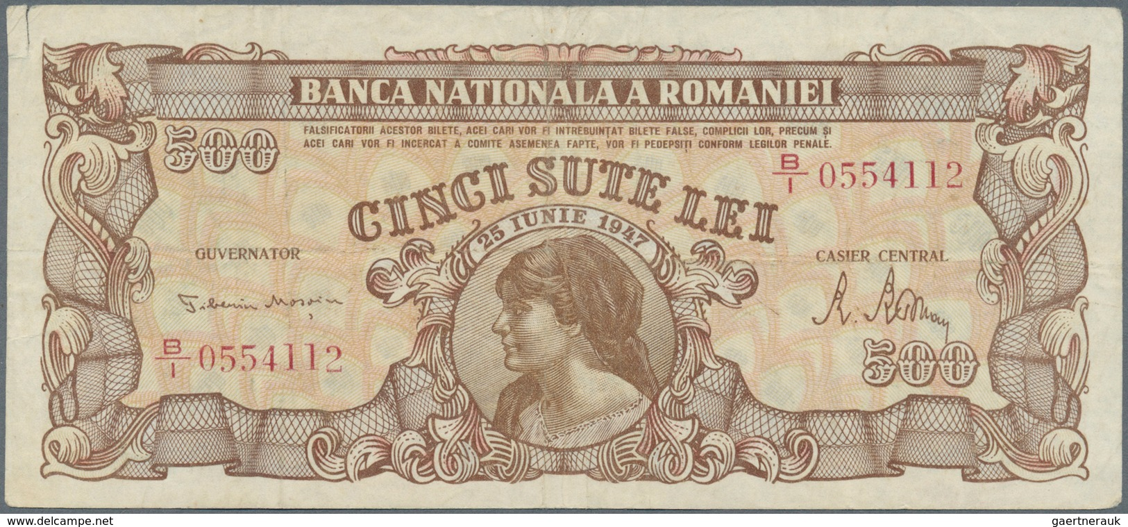 Romania / Rumänien: Banca Naţională A României 500 Lei 1947, P.63, Seldom Offered Note With Small Te - Rumänien