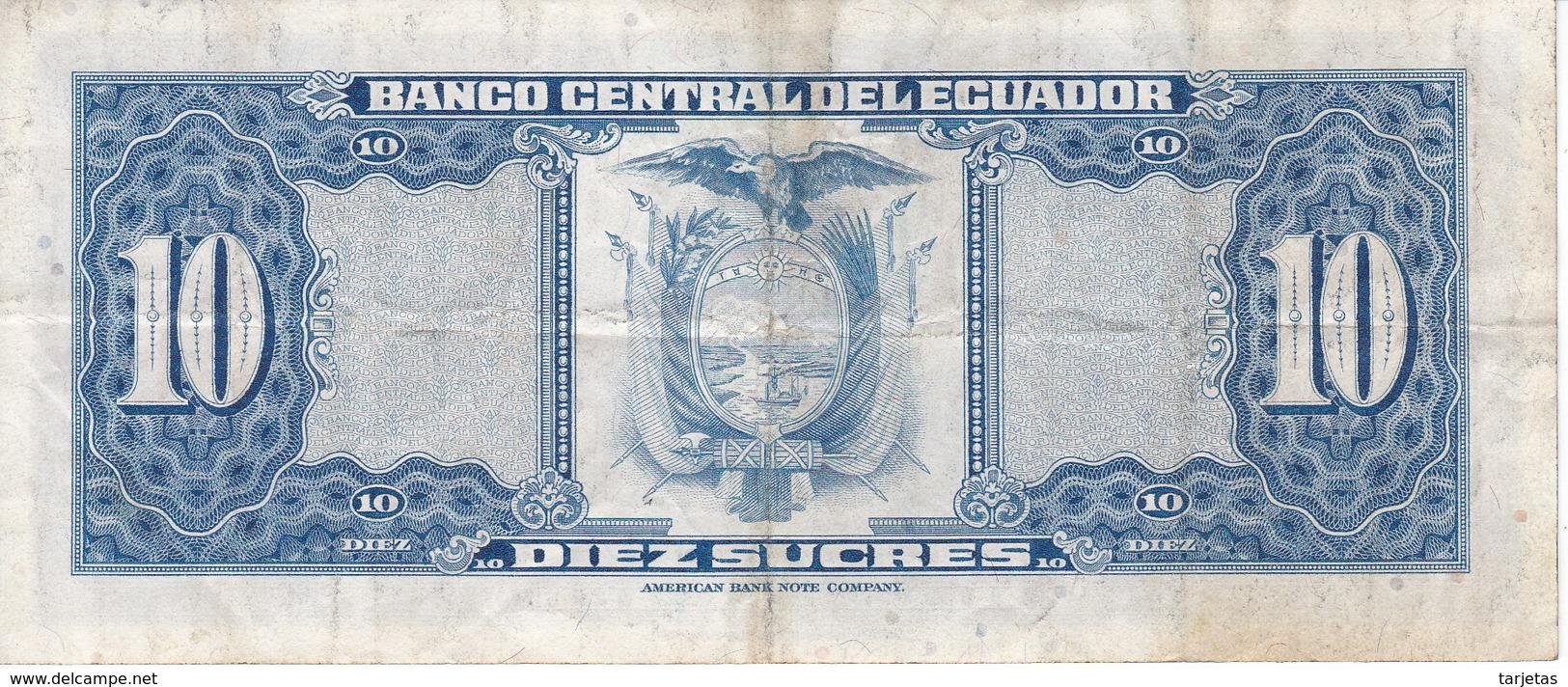 BILLETE DE ECUADOR DE 10 SUCRES DEL AÑO 1975 (BANKNOTE) - Ecuador