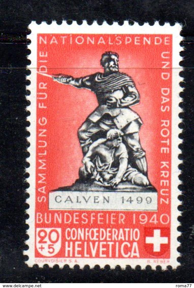 281/1500 - SVIZZERA 1940 , Unificato N. 351a Rosso Chiaro  ***  MNH - Pro Patria