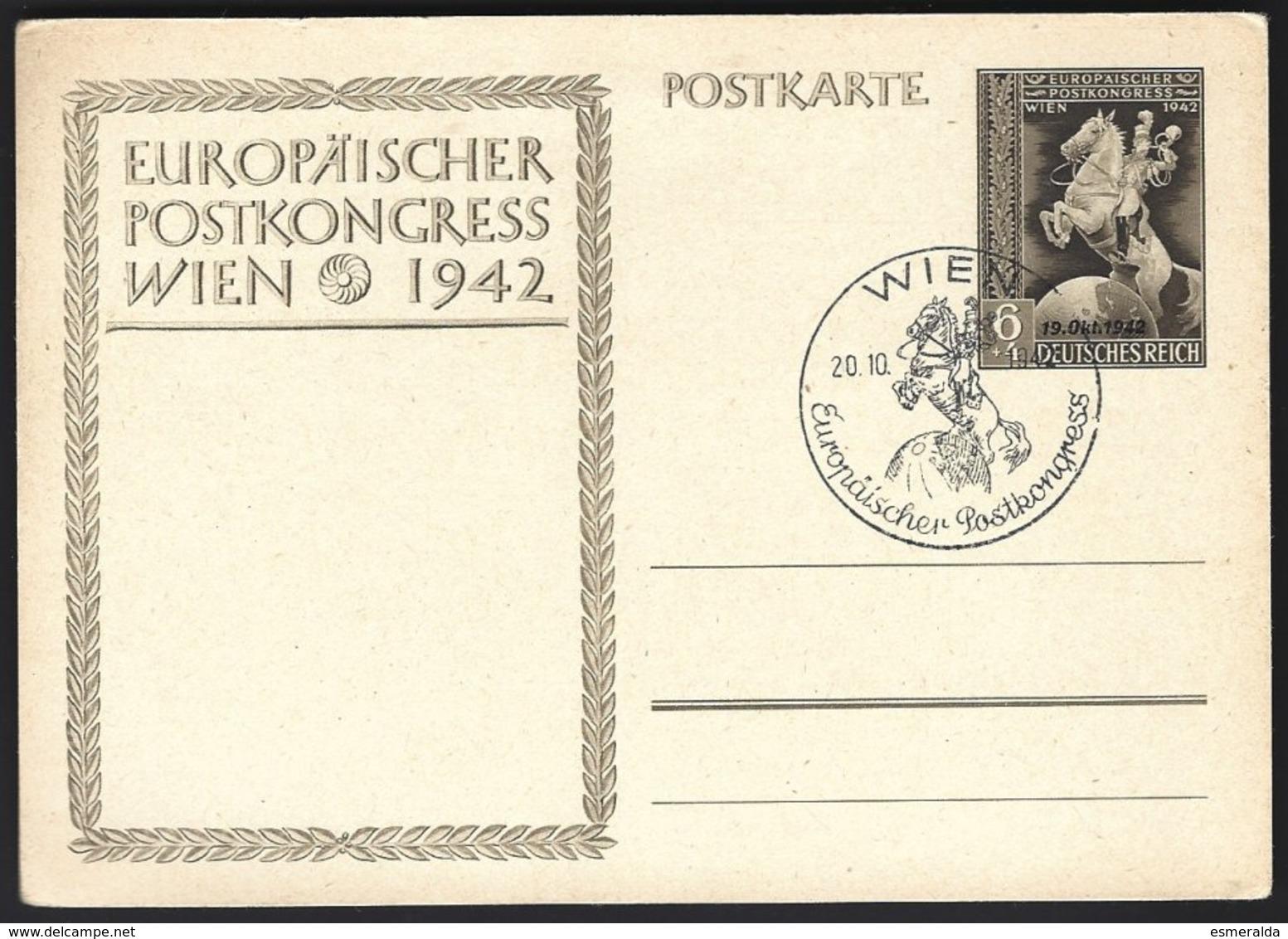 Autriche,stationary-Postkarte : Europäischer Postkongress Wien 1942 - Entiers Postaux
