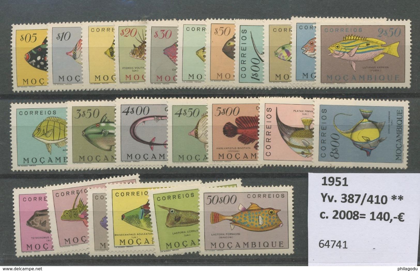 1951 Mozambique Poissons Série Complète**. Cote 140,-euros. Pesce Vis. Fish - Mosambik
